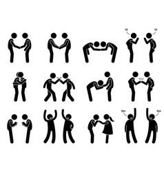 people meeting and greeting gestures etiquette vector image