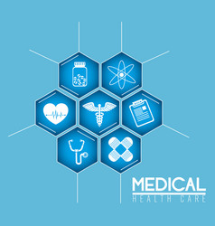 Pharmacy symbol with medical healthcare icons vector
