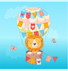 postcard poster a cute leon in a balloon vector image