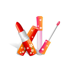 realistic red lipstick on white background vector image