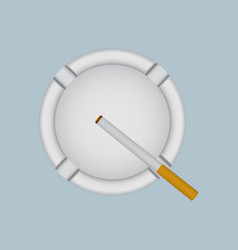 realistic white ashtray with lit cigarette vector image