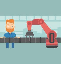 Refinery worker and robotic arm repairing pipeline vector