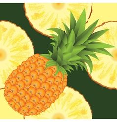 Seamless pattern of ripe yellow pineapple vector