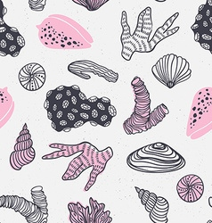 Seamless pattern with sea treasures - corals vector image