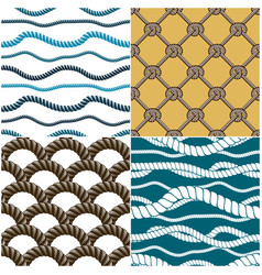 seamless patterns rope woven set abstract vector image