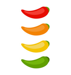set chili peppers flat isolated vector image