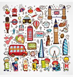 Set london icons hand drawn england vector