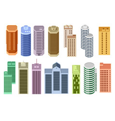 set of cartoon skyscrapers vector image