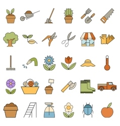 Set of colourful garden icons vector image