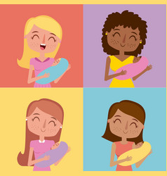 set of cute happy mothers carrying babies in hands vector image