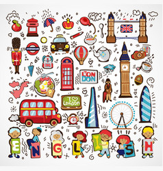set of london icons hand drawn england vector image