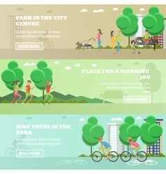Set of People in park concept banners vector
