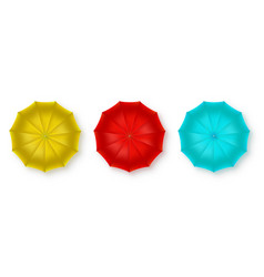 Set realistic colored umbrellas isolated on vector