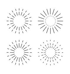 Set vintage sunburst light rays firework vector