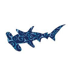 shark hammerhead predator nautical color vector image