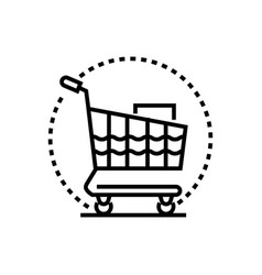 shopping trolley - line design single isolated vector image