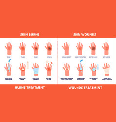 Skin first aid burns treatment wounds and trauma vector