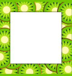 Square frame on ripe kiwi vector