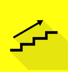 stair with arrow black icon with flat style vector image