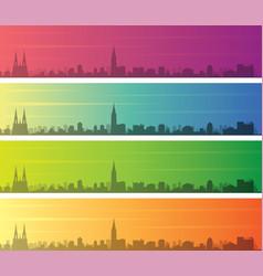Strasbourg multiple color gradient skyline banner vector