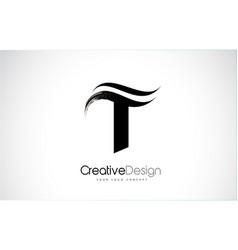 T letter design brush paint stroke vector