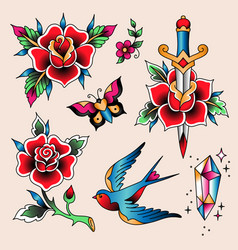 tattoo set rose vector image