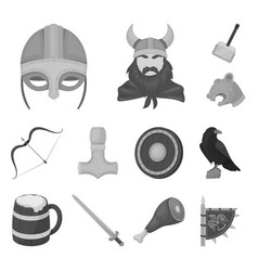 Vikings and attributes monochrome icons in set vector