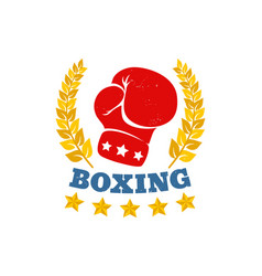 vintage logo for a boxing with glove vector image