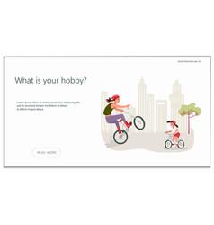 Website for biking hobby vector