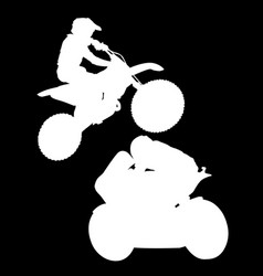 White silhouette of motorcyclist on black vector