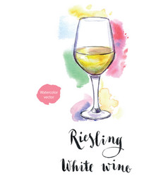 Wineglass white wine riesling vector