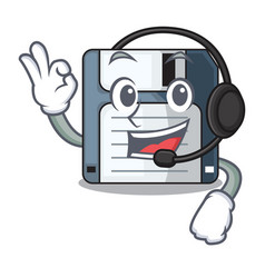 With headphone floppy disk in the writing wallet vector