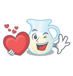 With heart milk jug completely filled with vector