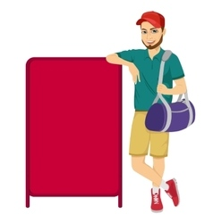 athlete leaning against a red blank board vector image vector image