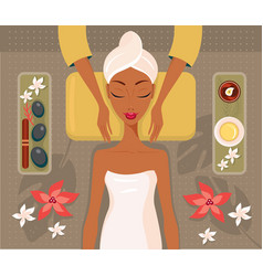 beautiful african woman relaxing spa salon face vector image