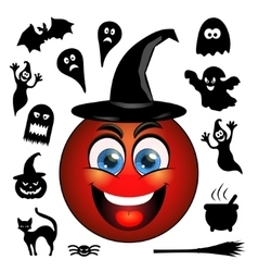 Halloween icons Smiling red emoticon in a vector image vector image