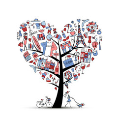I love france art tree sketch for your design vector