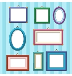 Picture frames on wall Flat photo frame set vector image