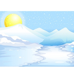 A moon and snow mountains vector image