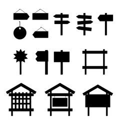 Billboards and signs silhouette set vector image vector image