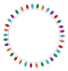 Circle of Christmas and New Year light on white vector image vector image
