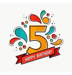 Colorful happy birthday number 5 flat line design vector image vector image