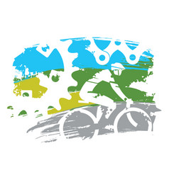 cyclist and bicycle parts vector image