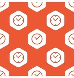 Orange hexagon clock pattern vector