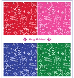 Set of winter seamless backgrounds vector image