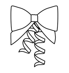 silhouette ribbon with holding bow vector image vector image