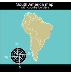 South America map with contry borders vector image