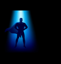 superhero standing under the blue light vector image vector image