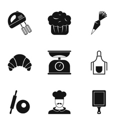 Sweet pastries icons set simple style vector