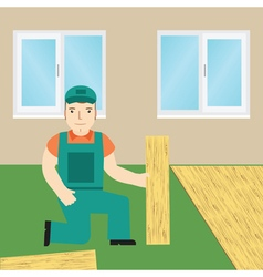 Worker laying laminate vector image